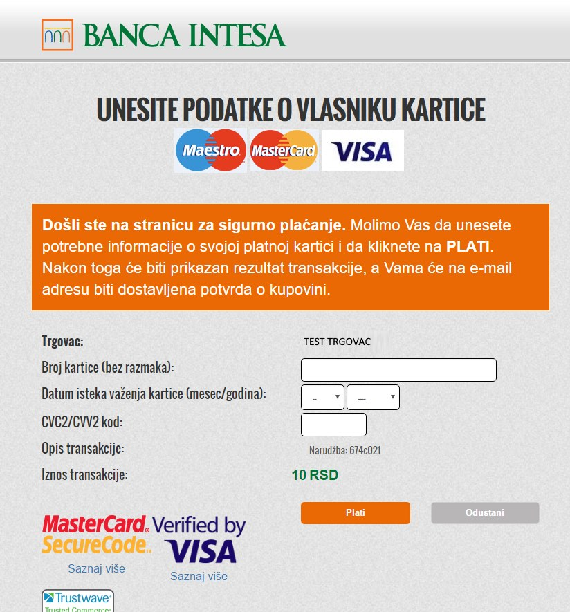 Virtuemart Banca Intesa NestPay Payment Method